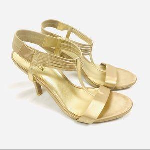 Kenneth Cole gold shimmer strappy sandal heels
